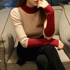 DABAGIRL - Mock-Neck Color-Block Knit Top