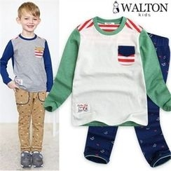 WALTON kids - Boys Set: Color-Block T-Shirt + Patterned Pants