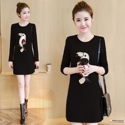 Emeline - Long-Sleeve Embroidered Sheath Dress