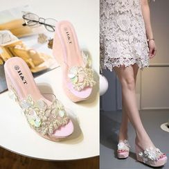 Anran - Faux Pearl Wedge Slide Sandals