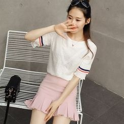 Colorful Shop - Short-Sleeve Paneled Top