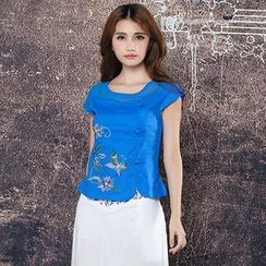 Diosa - Cap-Sleeve Embroidered Chinese Frog Button Top