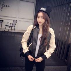 Melon Juice - Faux Leather Bomber Jacket
