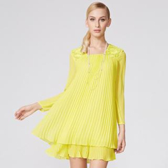O.SA - Long-Sleeve Lace Panel Shirred Dress