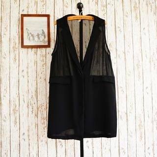 JVL - Chiffon Panel Long Vest