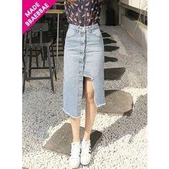 BBAEBBAE - Cutout-Trim Denim Midi Skirt
