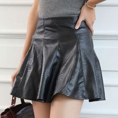 Fluff Snowy - Faux Leather A-Line Skirt