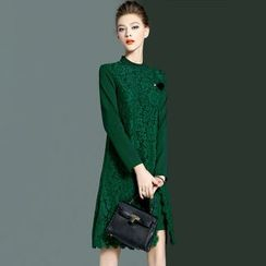 MIUCO - Lace Panel 3/4 Sleeve Dress