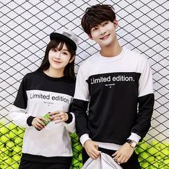 Bonne Nuit - Couple Matching Letter Colour Block Sweatshirt