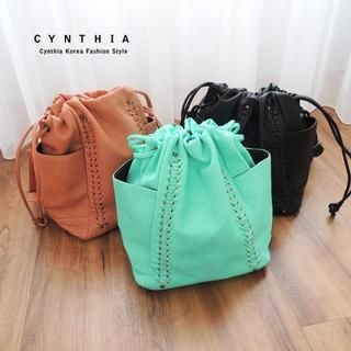 CYNTHIA - Faux-Leather Drawstring Bucket Bag