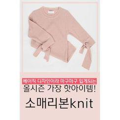 migunstyle - 3/4-Sleeve Tie-Cuff T-Shirt