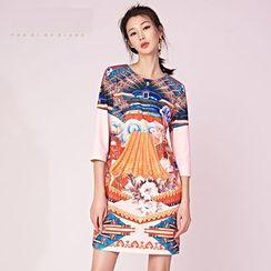 Cloudwood - 3/4-Sleeve Printed Shift Dress