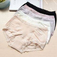 MITU - 純棉蕾絲花邊中低腰三角内褲