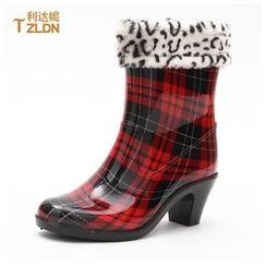 利达妮 - 粗跟短雨靴
