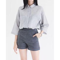 Someday, if - 3/4-Sleeve Dual-Pocket Shirt