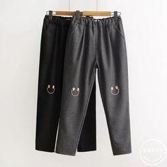 PANDAGO - Smiley Embroidered Straight Leg Pants