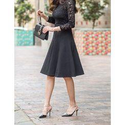 GUMZZI - High-Waist A-Line Skirt