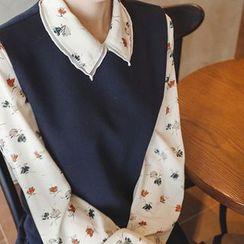 mimi&didi - Long-Sleeve Flower Pattern Blouse