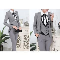 Caroe - 套裝: 無領西裝外套 + 西裝褲