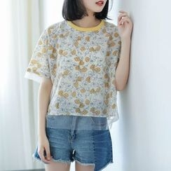 Mushi - Floral Print Mock Two-Piece Short-Sleeve Top