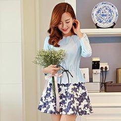 Romantica - Set: Drawstring-Waist Top + Floral Skirt