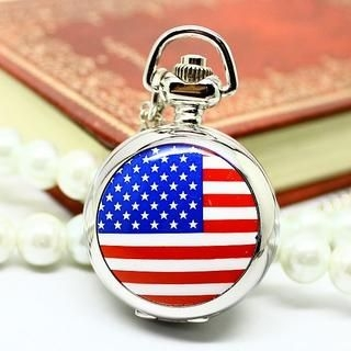 Miss Girl - American Flag-Print Pocket Watch