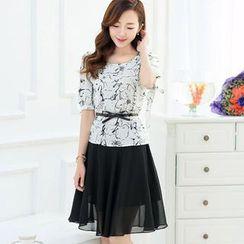 Romantica - Set: Patterned Chiffon Top + A-Line Skirt
