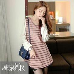Tokyo Fashion - Chiffon-Sleeve Striped Long Top