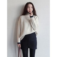 maybe-baby - Turtle-Neck Contrast-Trim Knit Top