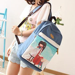 Canvas Love - Cartoon Print Backpack