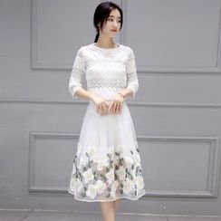 Romantica - Set: Lace Top + Embroidered Skirt