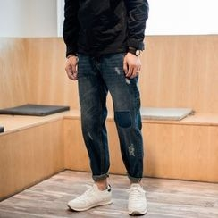 YIDESIMPLE - Distressed Slim-Fit Jeans