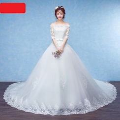 Caramelo - Lace Off-shoulder Ball Gown Wedding Dress