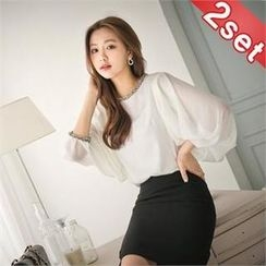 Styleberry - Set: Balloon-Sleeve Chiffon Top + Pintuck Back Skirt