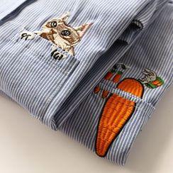 布丁坊 - 刺绣条纹衬衫