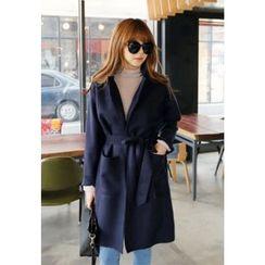 REDOPIN - Wool Blend Tied-Waist Coat