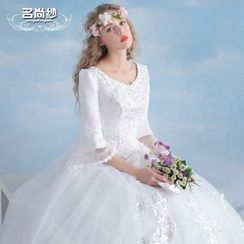 MSSBridal - Maternity Elbow-Sleeve V-neck Wedding Dress