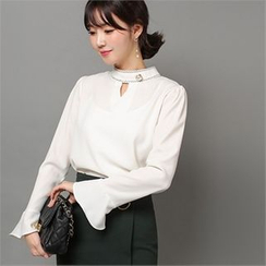 Styleberry - Mock-Neck Faux-Pearl Top