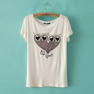 JVL - Short-Sleeve Owl-Print T-Shirt