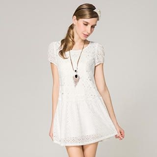 O.SA - Puff-Sleeve Eyelet-Lace Dress