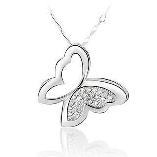 BELEC - 925 Sterling Silver Elegant Butterfly Pendant and 45cm Necklace