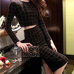 Aurora - Set: Plaid Top + Skirt