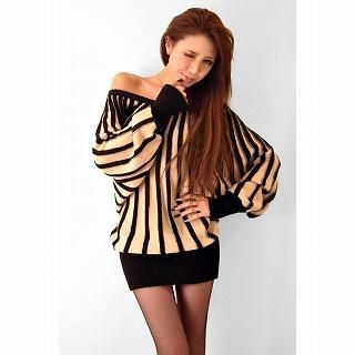 GOLDS infinity - Off-Shoulder Striped Knit Mini Dress