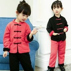 Merry Go Round - Kids Set: Mandarin Collar Frog Button Jacket + Pants
