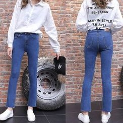 Jeans Kingdom - Frayed Hem Boot Cut Jeans
