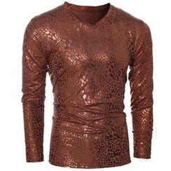 Fireon - Bronzing Print Long Sleeve V-Neck T-Shirt