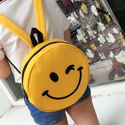 Youme - Smiley Face Embroidered Round Backpack