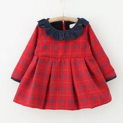 Merry Go Round - Kids Ruffle Trim Plaid Long-Sleeve Dress