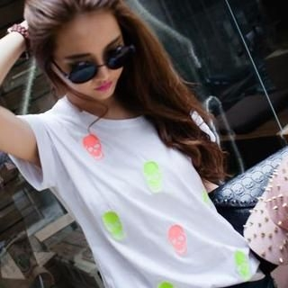 PUFII - Studded-Trim Skull Printed T-Shirt