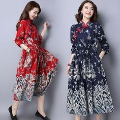 Diosa - Printed Mandarin Collar Long Sleeve Dress